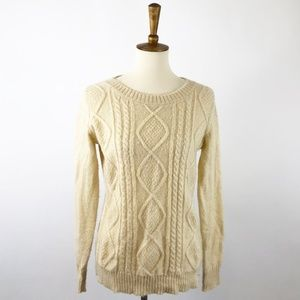 Woolrich Wool Cable Knit Ivory Classic Sweater, S